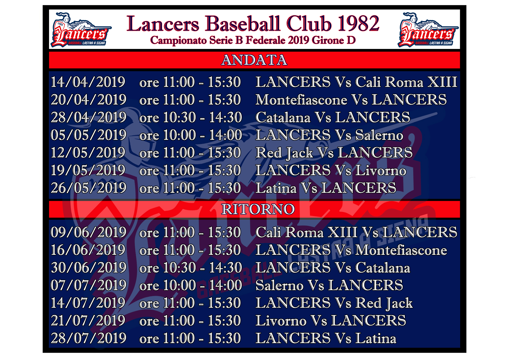 Risultati Calendario Serie A.Calendario Serie B Lancers Baseball Club 1982